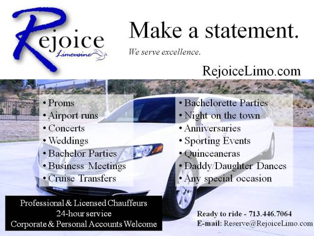 Rejoice Limo Flyer for Agave Rio